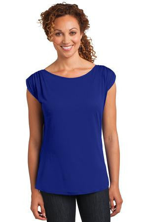 District Made™ Ladies Modal Blend Gathered Shoulder Tee. DM483