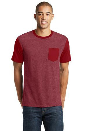 District® Young Mens Very Important Tee® with Contrast Sleeves and Pocket. DT6000SP