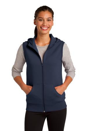 Sport-Tek® Ladies Hooded Fleece Vest. LST268