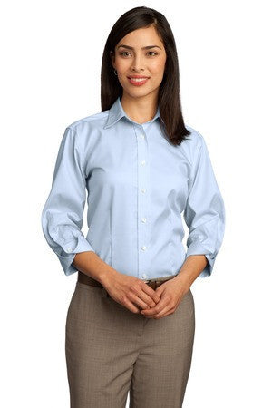 Red House® - Ladies 3/4-Sleeve Dobby Non-Iron Button-Down Shirt. RH61
