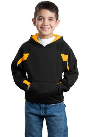 Sport-Tek® Youth Color-Spliced Pullover Hooded Sweatshirt. Y266