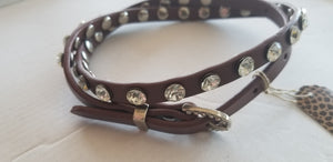 Boot Belt long Brown round rhinestone