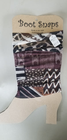 Boot Tubes browns, blacks, rust.geographical print