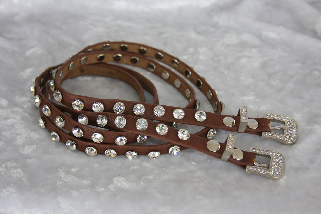 Boot Belt long Brown Rhinestone  Boot Belt