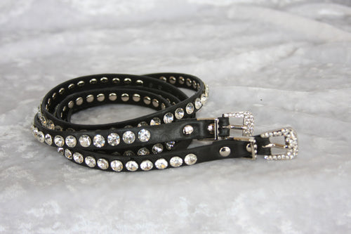 Black long skinny Boot Belts