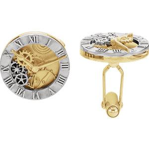 14K White & Yellow Clock Design Cuff Links