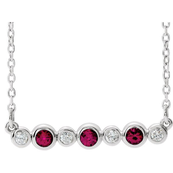 "Ruby & .08 CTW Diamond Bezel-Set Bar 16-18"" Necklace"
