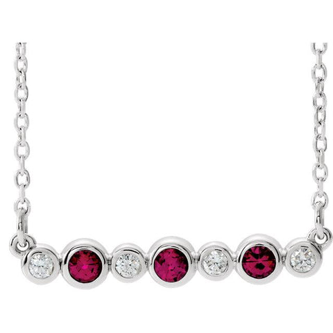 "Ruby & .08 CTW Diamond Bezel-Set Bar 16-18"" Necklace - Moijey Fine Jewelry and Diamonds"