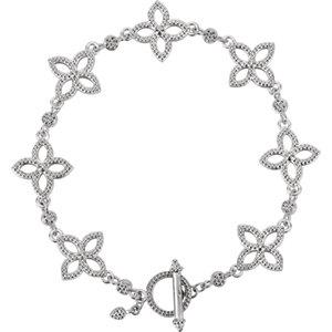 "Sterling Silver Floral-Inspired 7.5"" Bracelet - Moijey Fine Jewelry and Diamonds"