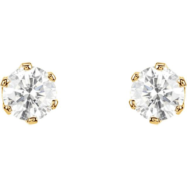 1/2-2CTW 14kt Gold 6-Prong Diamond Earrings with Screw Backs