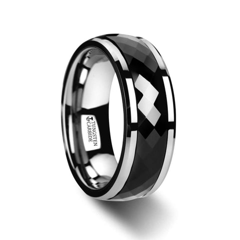 Polished Diamond Faceted Black Ceramic Spinner Ring with Beveled Edges - Moijey Fine Jewelry and Diamonds
