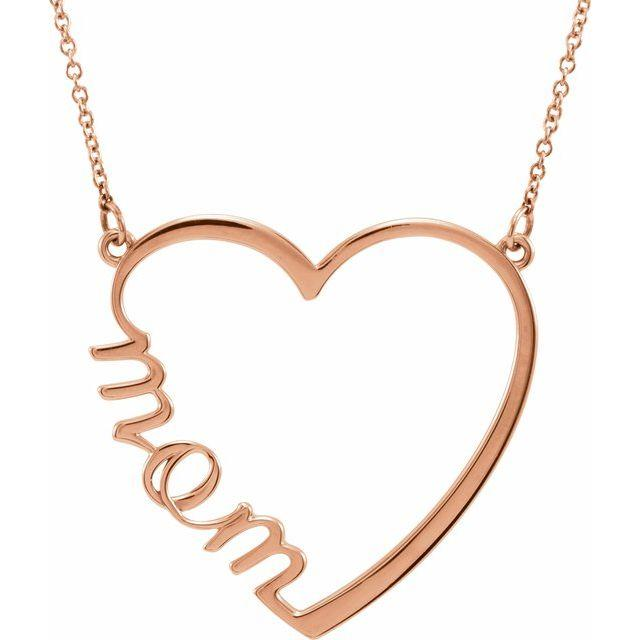 "14K 17"" Mom Heart Necklace"