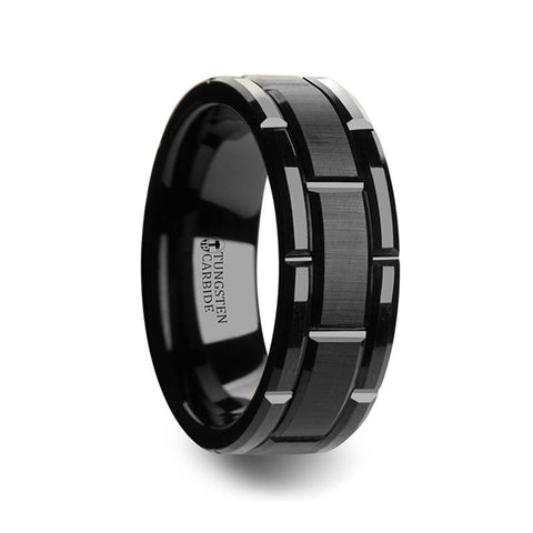 Beveled Black Tungsten Carbide Wedding Band with Brush Finished Center and Alternating Grooves - Moijey Fine Jewelry and Diamonds