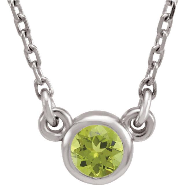 Peridot Bezel-Set Necklace (4mm)