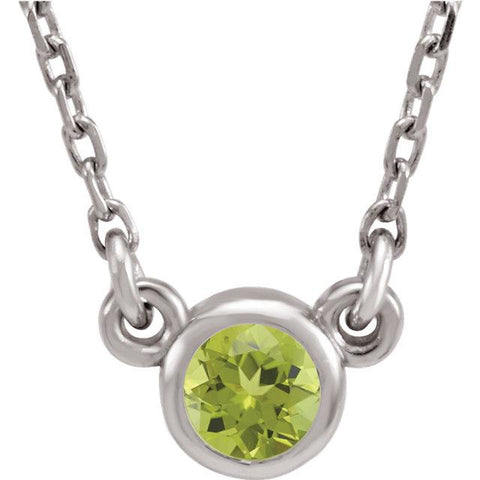 Fine Peridot Necklace | Bezel Set Peridot Necklace | Peridot Necklace