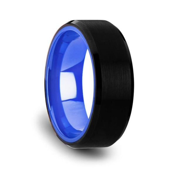 Black Tungsten Comfort Fit Wedding Band with Brush Center and Deep Blue inside - Moijey Fine Jewelry and Diamonds