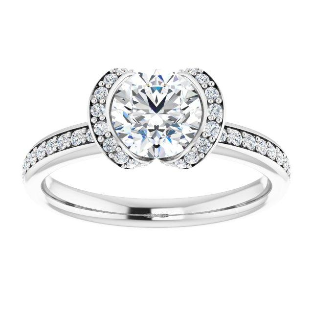 14k Bezel Halo Engagement Ring