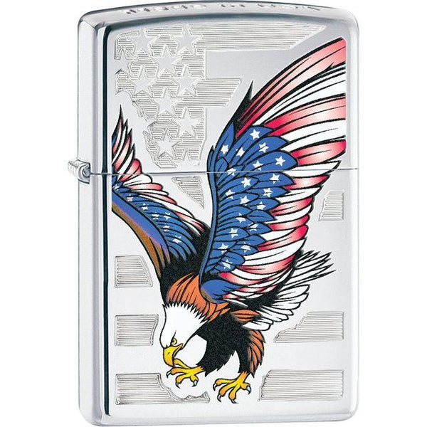 Zippo® Eagle Flag High Polish Chrome Lighter