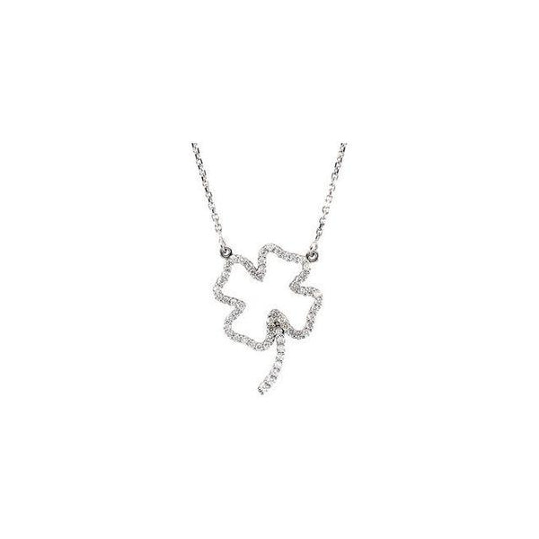 14K. White Gold 1/4ctw DiamondClover16'' Necklace - Moijey Fine Jewelry and Diamonds