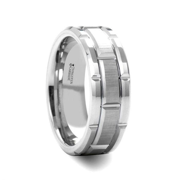 Beveled Tungsten Carbide Wedding Band with Brush Finished Center and Alternating Grooves
