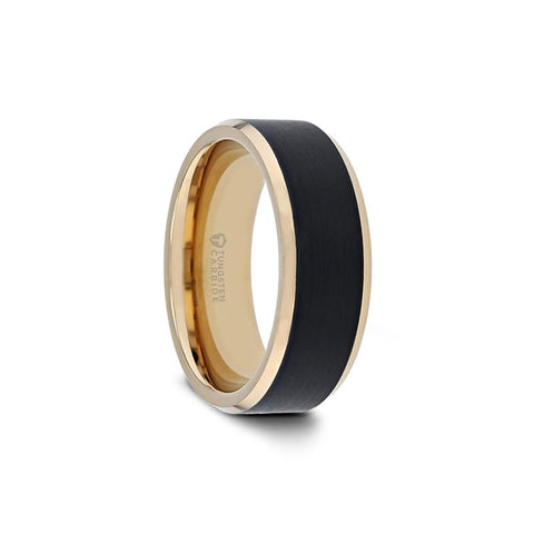 Polished Tungsten Carbide Beveled Ring with Brushed Black Center and Gold Plating - Moijey Fine Jewelry and Diamonds
