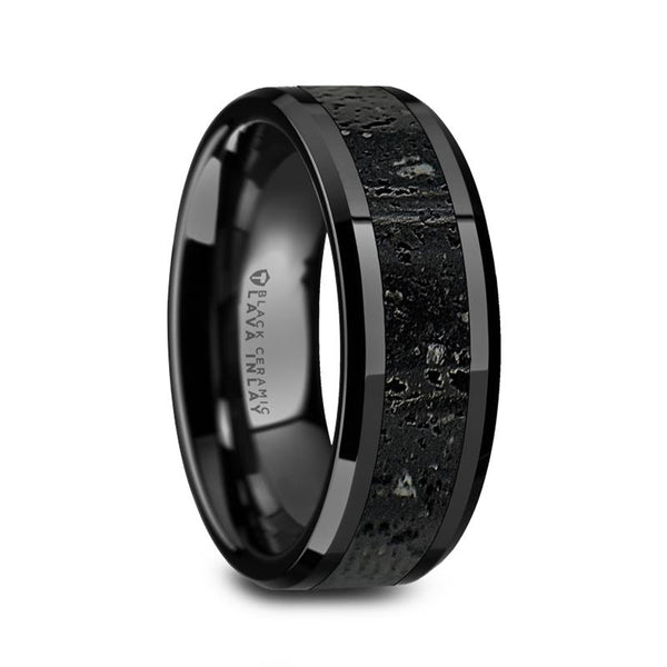 Polished Black Ceramic Wedding Band with Lava Rock Stone Inlay - Moijey Fine Jewelry and Diamonds