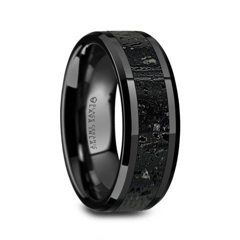 Polished Black Ceramic Wedding Band with Lava Rock Stone Inlay