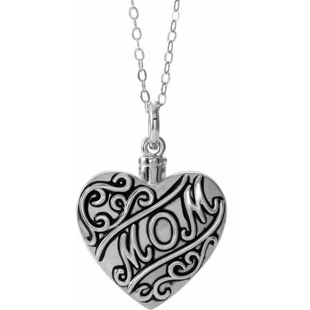 "Sterling Silver Mom 18"" Ash holder"
