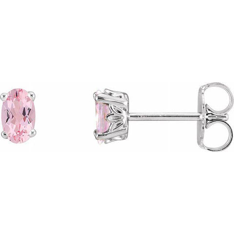 14K White Gold and Oval-Shaped Morganite Scroll Earrings