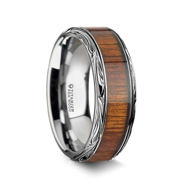 Koa Wood Inlaid Titanium Men's Wedding Ring with Intricate Edges