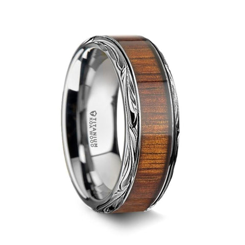 Koa Wood Inlaid Titanium Men's Wedding Ring with Intricate Edges - Moijey Fine Jewelry and Diamonds