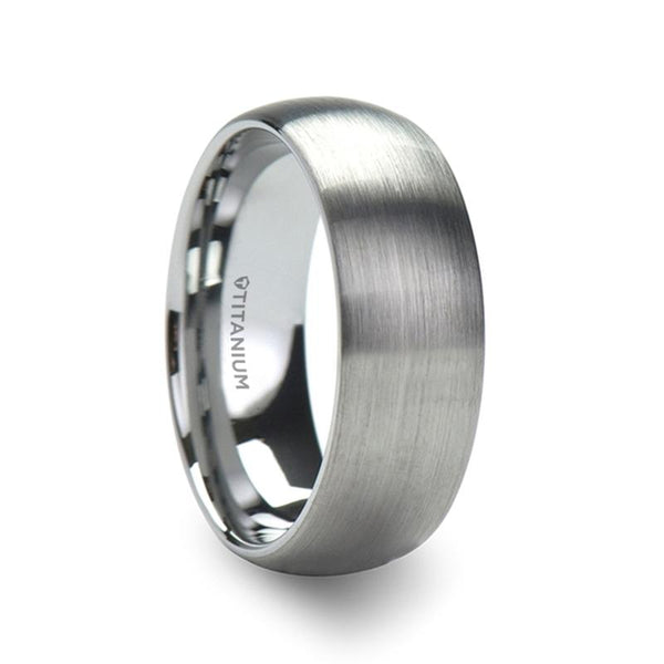 Men's Titanium Brushed Finish Domed Wedding Band