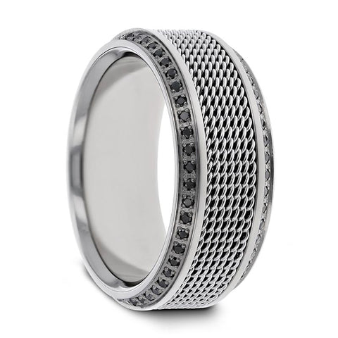 Titanium Wedding Ring with Steel Chains Round Black Diamonds