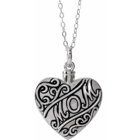 "Sterling Silver Mom 18"" Ash holder - Moijey Fine Jewelry and Diamonds"