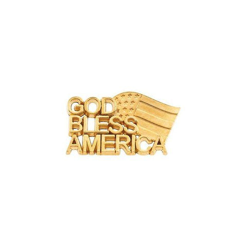 14k Yellow Gold God Bless America Lapel Pin