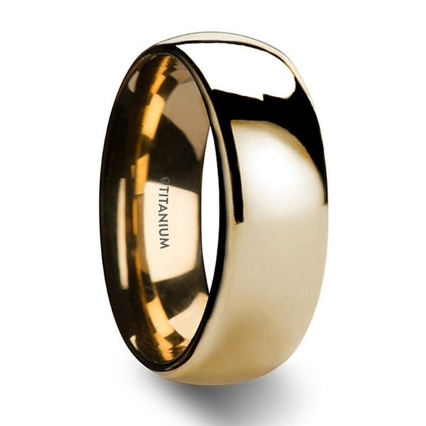 Traditional Domed Gold Plated Titanium Wedding Ring