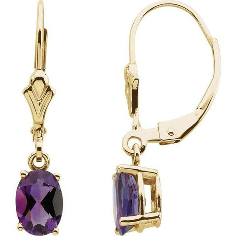 14K Yellow Gold Amethyst Earrings - Moijey Fine Jewelry and Diamonds