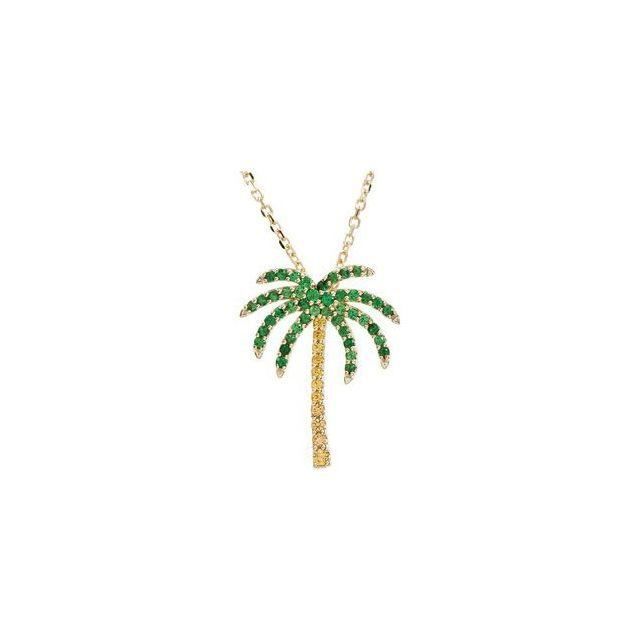 14K.Yellow Gold/Tsavorite Garnet and Yellow Sapphire Palmtree Necklace