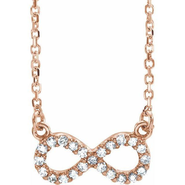 "14k .08 Carat Diamond Infinity 16 1/2'"" Necklace"