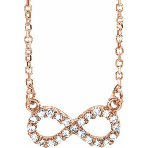 "14k .08 Carat Diamond Infinity 16 1/2'"" Necklace - Moijey Fine Jewelry and Diamonds"