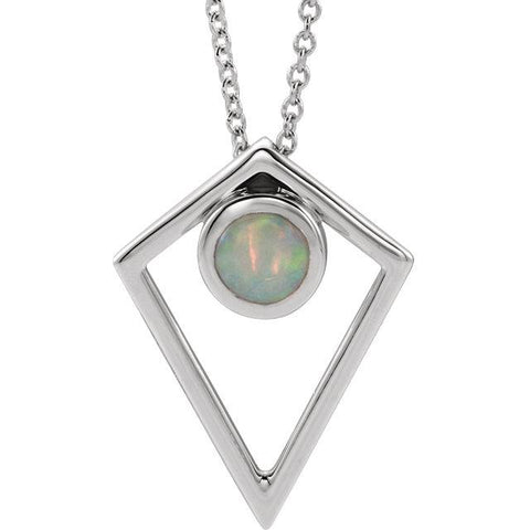 Opal Cabochon Pyramid Necklace - Moijey Fine Jewelry and Diamonds