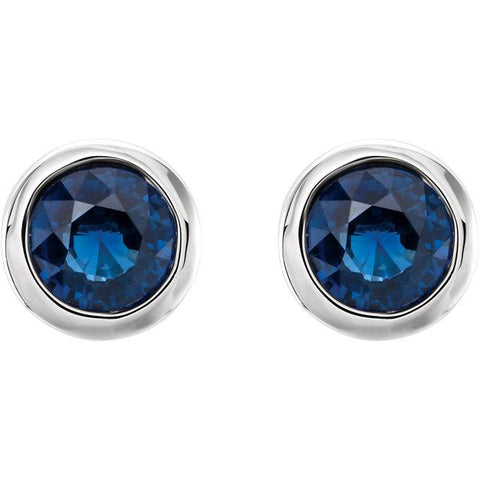 Bezel-Set Blue Sapphire Stud Earrings - Moijey Fine Jewelry and Diamonds