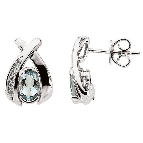 14K White Gold Aquamarine & 1/10 Diamond Earrings