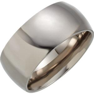 Titanium 10mm Domed Polished Band