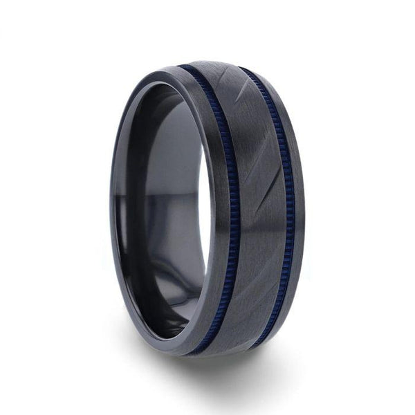 8mm Carved Black Titanium Men's Wedding Ring