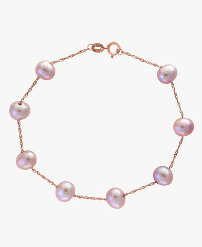 14K Gold Natural Pink Fresh Water Pearl Bracelet
