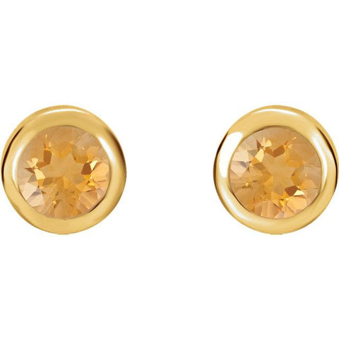 Bezel-Set Citrine Stud Earrings - Moijey Fine Jewelry and Diamonds