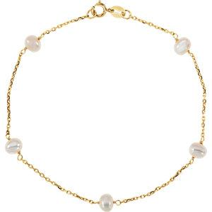 "14K Yellow White Freshwater Cultured Pearl Station 7"" Bracelet - Moijey Fine Jewelry and Diamonds"