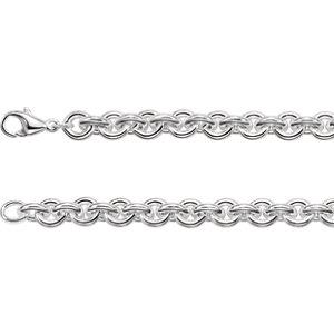 "Sterling Silver 9mm Solid Round Cable 8"" Bracelet"