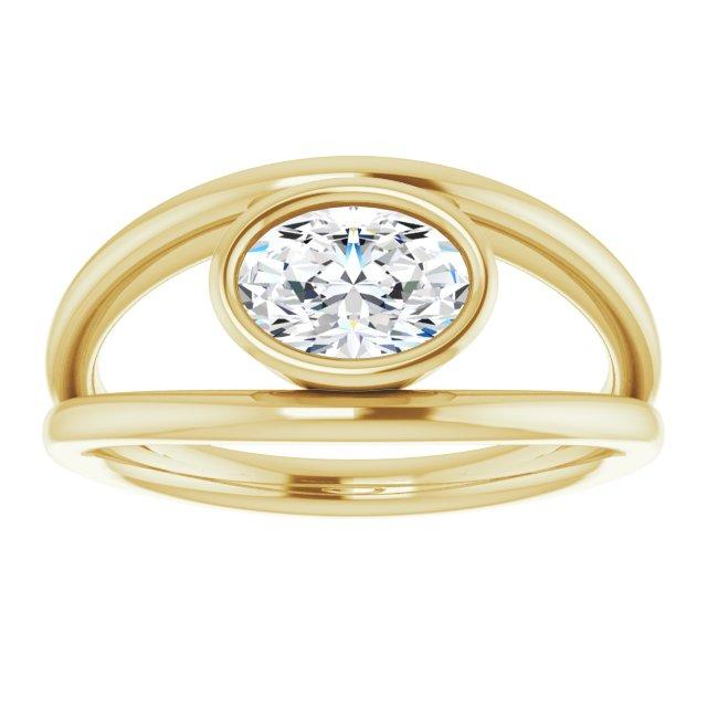 Bezel Set Solitaire Ring With Oval Mounting